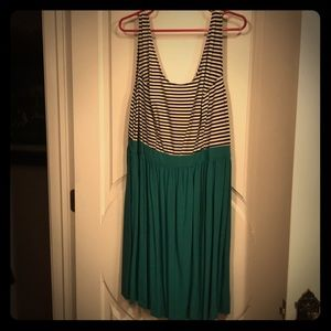 Size 2x black and white stripe teal dress